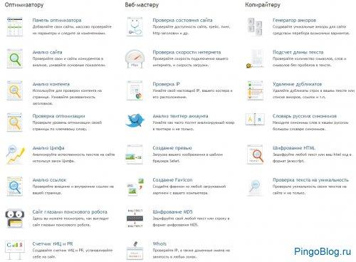 Инструменты сервиса PR-CY