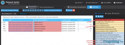 Проверка битых ссылок на сайте с помощью Netpeak Spider